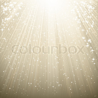 Snow and stars are falling on the background of silver luminous rays