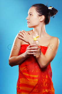 Beautiful young woman in summer beach series