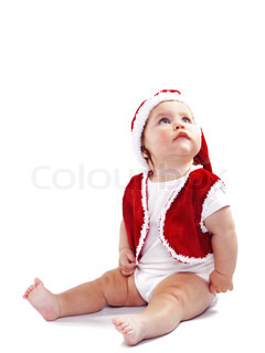 Portrai of cute little Santa Claus baby isolated on white background