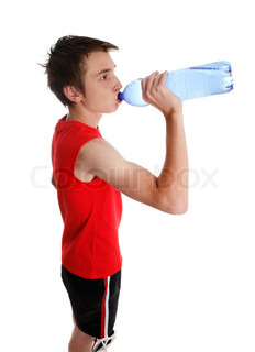 Teen boy wiping his brow and drinking water from a bottle stock a young teenager drinking bottled water white background sciox Gallery