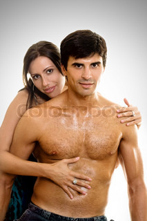 Woman embraces and caresses her lover or husband