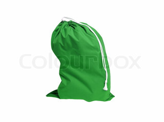 green sport bag isolated on white background