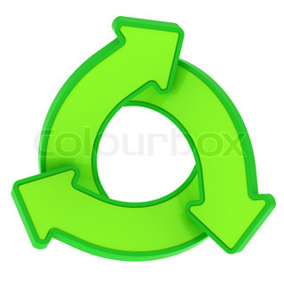 Three green arrows rotating in a swirl isolated on the white background