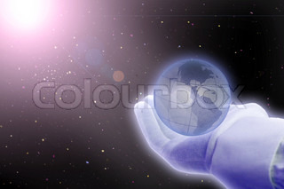 universe: hand holding globe over space with shining sun