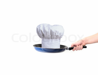 chef hat on pan - concept