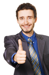 Friendly handsome businessman showing thumbs up sign
