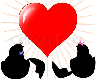 vector illustration of a two chickens silhouette with heart. Valentine/Easter Theme.