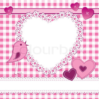 A greeting card in scrapbook style with photo frame Perfect for a baby girl, Valentine day or wedding themes