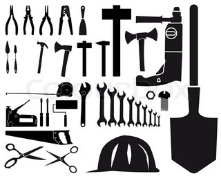 Set of vector silhouettes of different tools on white background