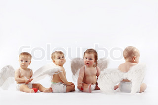 Group of cute valentine angel babies sitting on light studio background