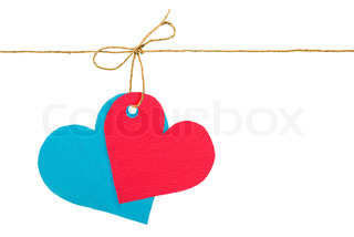Red and blue paper hearts on rope
