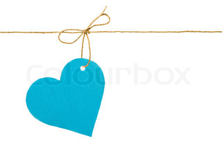 Blue paper heart on a rope with a bow