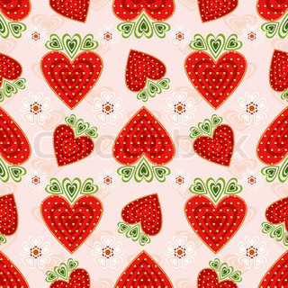 Pink seamless valentine pattern with decorative strawberry and flowers (vector)