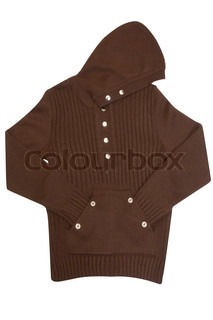 Brown sweater with hood isolated on a white background