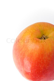 closeup of apple on white background