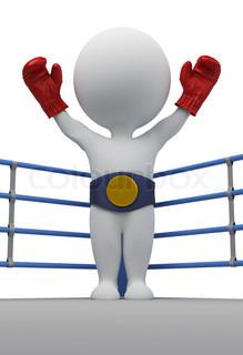 3d kleine Leute - Boxer mit einem Gürtel des Champions