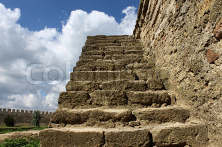 ancient stone stairs over sky
