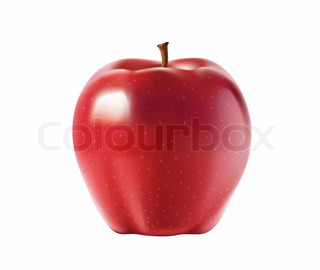 red apple isolated on white close up