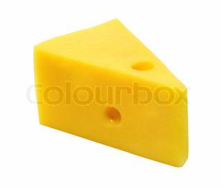 Stort stykke af gule oste på en hvid baggrund
