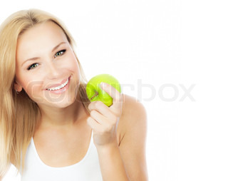 Happy woman dieting, pretty girl eating apple, female hand holding green fruit, healthy lifestyle, nutritious organic food, isolated on white background with text space