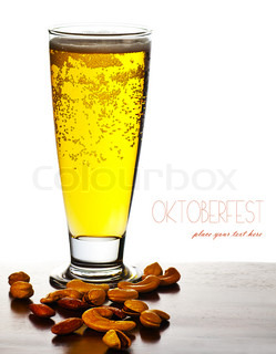 Glass of cold beer drink isolated over white background with text space, festival of beer, autumn traditional german holiday celebration, oktoberfest