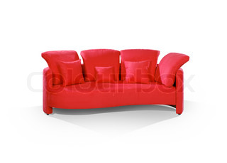 Red stylish sofa on the white floor