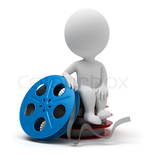 3d small people sitting on film reel