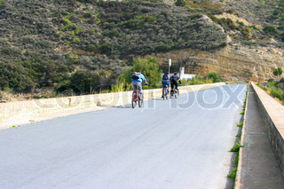 Mountain bikers on the road