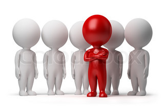 3d small person the leader of a team allocated with red colour