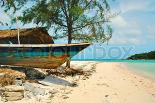 Chaweng beach and old wooden boat, Thailand