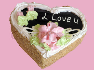 cake I Love You over pink