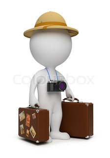 3d small people - tourist with suitcases and the camera