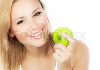 Glad kvinde slankekure , smukke pige spiser æble , kvindelig hånd, der holder grøn frugt, sund livsstil, nærende økologisk mad , isoleret på hvid baggrund med tekst plads