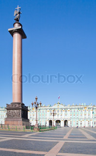 Alexander Column on Palace Square in St.Petersburg, Russia