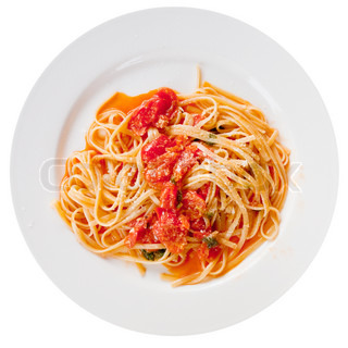 spaghetti with spicy tomato sauce on white plate isolated on white