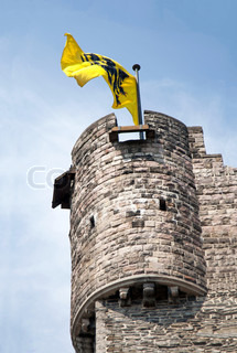 Medieval tower with flag