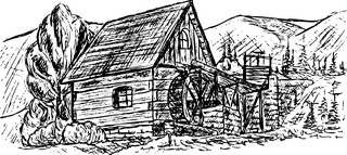vector - drawing ancient water mill on mountains