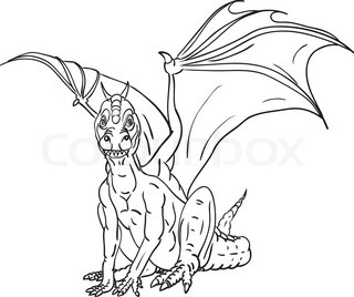 vector - contour dragon isolated on background