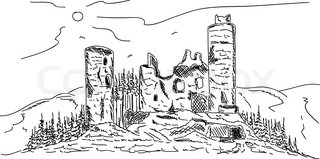 vector - old castle , ruins on top Hill