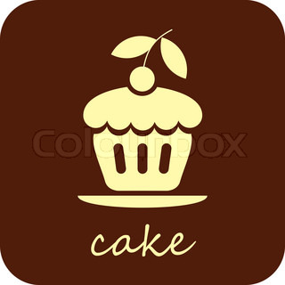 Sweet Cake with cherry - isolated vector icon on dark brown background