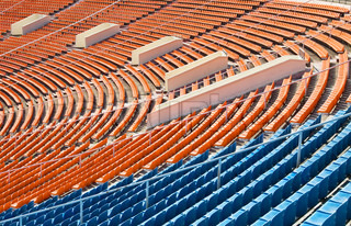 Rows of seats on th stadium