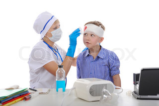 Doctor bandaged the boy's head Isolated on white background