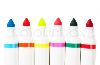 Six colorful markers (blue, red, yellow, green, orange) over white background