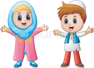 happy muslim kid cartoon isolated on white background