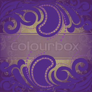 abstract purple background with ornaments on the horizontal strip