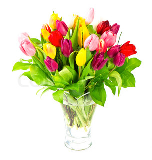 bouquet of fresh assorted tulip flowers