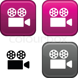 Cinema square buttons. Black icon included.