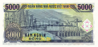 5000 Dong bill of Vietnam 1991, reverse