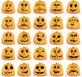 Halloween græskar med mund, øjne og næser til Jack O ` Lantern ansigt, vektor illustration