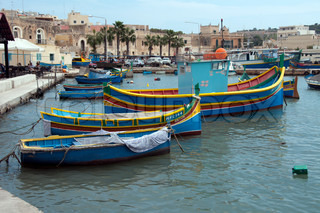 Harbour with boats on the Island Malta